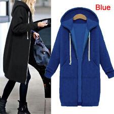Plus Size Women Warm Winter Lady Long Sleeve Hooded Cardigan Zip Up Jacket Coat