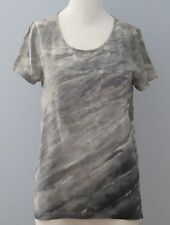CYNTHIA ROWLEY Size XS Gray 100% Silk Round Neck Short Sleeve Blouse