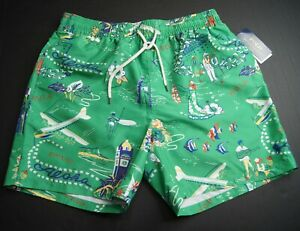 "POLO RALPH LAUREN Men's 5.5"" Traveler Hawaiian Print Swim Trunks NEW NWT"