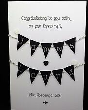 Handmade Personalised Engagement Card with handmade bunting (black & silver)