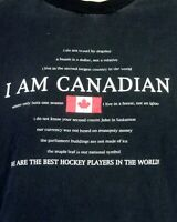vtg 90s I Am Canadian T-Shirt We are the Best Hockey Players in the World sz XL