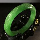 Carved Jade Apple Green Bangle Bracelet 58 x 12mm Vintage Flawless  11