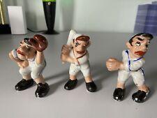 Occupied Japan Baseball Player Pitcher, Catcher, Hitter Porcelain Figurine