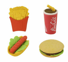 6 Fast Food Erasers - Pinata Toy Loot/Party Bag Fillers Wedding/Kids Rubbers