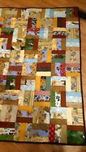 """one Handmade HAND tied quilt  56"""" x 45"""" brown"""