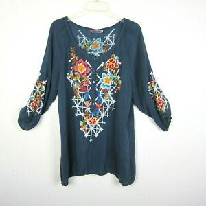 Johnny Was Size M Embroidered Half Button Blue Blouse Tunic Top Peasant Teal