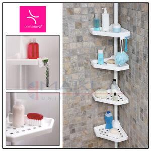 4 TIER Adjustable TELESCOPIC Bathroom CORNER SHOWER CADDY Shelf Rack Organiser