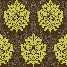 Damasco Vinilo Verde/marrón con textura wallpaper Metálico Libre P&P