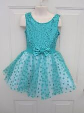 Turquoise White Polka Dot Dance Costume Dress IC 7 8 Tap Musical Theatre New