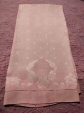 """Gorgeous Pink Daffodil Design Damask Linen Show Towel 31"""" by 17.5"""""""