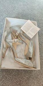 JIMMY CHOO Authentic Champagne Glitter Peep Toe Sling Back Heels UK size 4.5