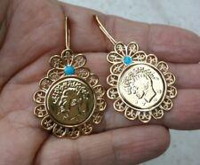 Persian Style Coin Earrings Pahlavi Shir Khorshid Lion Sun Reza Shah Gift Art