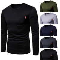 AUTUMN MEN'S LONG SLEEVE T-SHIRT SOFT PLAIN TOP CASUAL WOOL NEW M-2XL FASHION