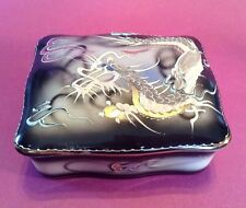 Dragon Ware Trinket Box - Hand Painted Porcelain With Moriage Dragons