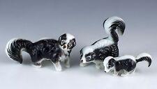 Vintage Miniature 3 Piece Set Bone China Skunk Family Figurines Matte Japan