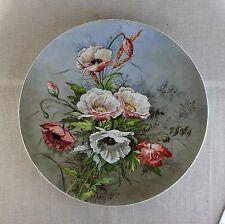 Rare plat en faïence Art-nouveau Décor d'un bouquet de coquelicots TBE