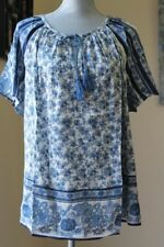 NEW $89 LUCKY BRAND WOM PLUS 1X Border Print FLORAL Peasant Top NAVY BLOUSE SHOR