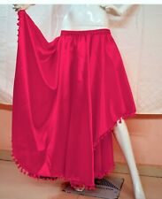 Asymmetrical Palazzo Satin Deep Pink Twill Culottes BellyDance Palazzo pant S67