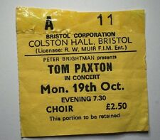 TOM PAXTON Concert Ticket Stub Colston Hall Bristol