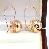Vintage 14k Rose Gold GF Filigree Swirl Spiral 15 mm Large Ball Drop Earrings