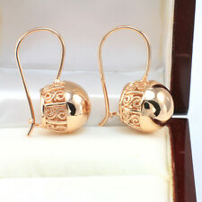 Vintage 14k Rose Gold GF Filigree Swirl Spiral 15 mm Large Ball Drop Earrings