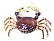 Gold tone enamel crab brooch / pin