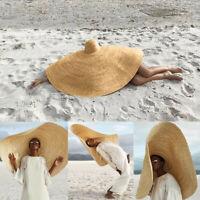 Women Super Large Sun Hat Beach Anti-UV Sun Protection Foldable Straw Cap Cover