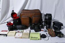 Chinon Ce-4 Film Camera Slr + 4 Lenses & Accessories in Bag