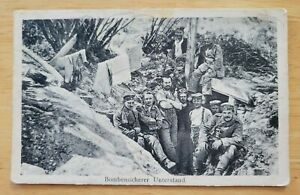 Postcard Germany WW1 Feldpost German Soldiers Bomb-proof shelter 1915 Divsion Nr