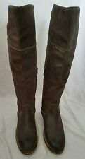 "BP Knee High Boots ""Darby"" Brown Suede Zipper Buckle Leather Womens Size 6.5"