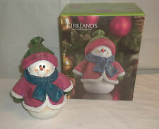 Kirklands Ceramic Resin Sweater Snowman #120588 Glitter Scarf NIB!