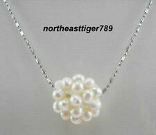 Real Cluster White Pearl Round Ball 18KWGP Pendant and Necklace