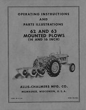 Allis Chalmers 62 & 63 Mounted Plows Operators - Parts manual # TM-128