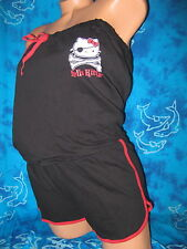 nwt Hello Kitty Black & Red Pirate Skull Punk 1 Piece Short Pajamas Romper XL