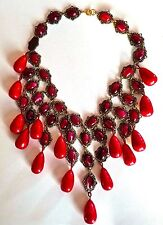 Artisan VTG Elegant Deco Coral Red Cabochon Glass Baroque Teardrop Bib NECKLACE