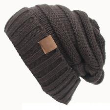 Womens Knitted Cap Slouch Beanie Cap Oversize Baggy Ski Hat Unisex Winter Cap