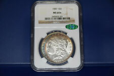 1887 Morgan Silver Dollar NGC MS64* CAC crescent rainbow dual toner PQ