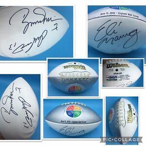 Eli Manning NY Giants Dan Marino Miami Dolphins Boomer Esiason SIGNED FOOTBALL