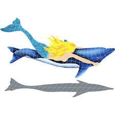 Mosaic Mermaid Dolphin Swimming Pool Bath Wall Patio Deck Walk Table Bar Art