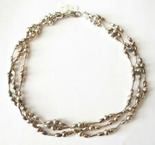 Italy Sterling Twist Necklace New Old Stock w Macy's Tag Round Oval & Tube Beads