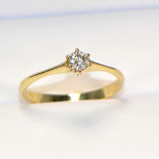 NEU Diamantring 0,19 ct in Gelbgold (18K) Solitär Verlobung Brillant 6 Krappen