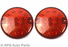 2 x 12/24v 14 LED Hamburger Rear Fog Light Red E4 Round Trailer Car Van New