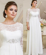New Lace Chiffon Wedding Dresses Bridal Gown Custom Plus Size 6-8-10-12-14-16++