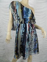 OJAY blue off-shoulder marble print 100% silk dress size 10 NWOT