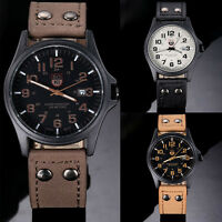 Mens Date Wrist Watches Stainless Steel Leather Sport Quartz Army Watch ST