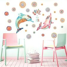 Colorful Couple Dolphin Wall Decals For Kids Rooms Decorations Removable Mural