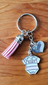 Pink baby girl keyring for the new or expecting mum - mothers day, birthday gift