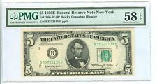 1950E $5 FEDERAL RESERVE NOTE NEW YORK GRANAHAN/FOWLER PMG-58 CHOI.ABOUT UNC.