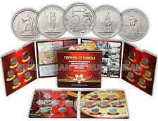"SET 14 RUSSIAN COINS OF 5 RUBLES 2016 ""The Capitals liberated..."" + ALBUM #2"