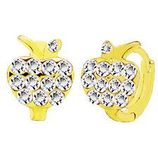 18 k Gold Plated  White Stones Women or Girl Apple Small Hoops Earrings E943